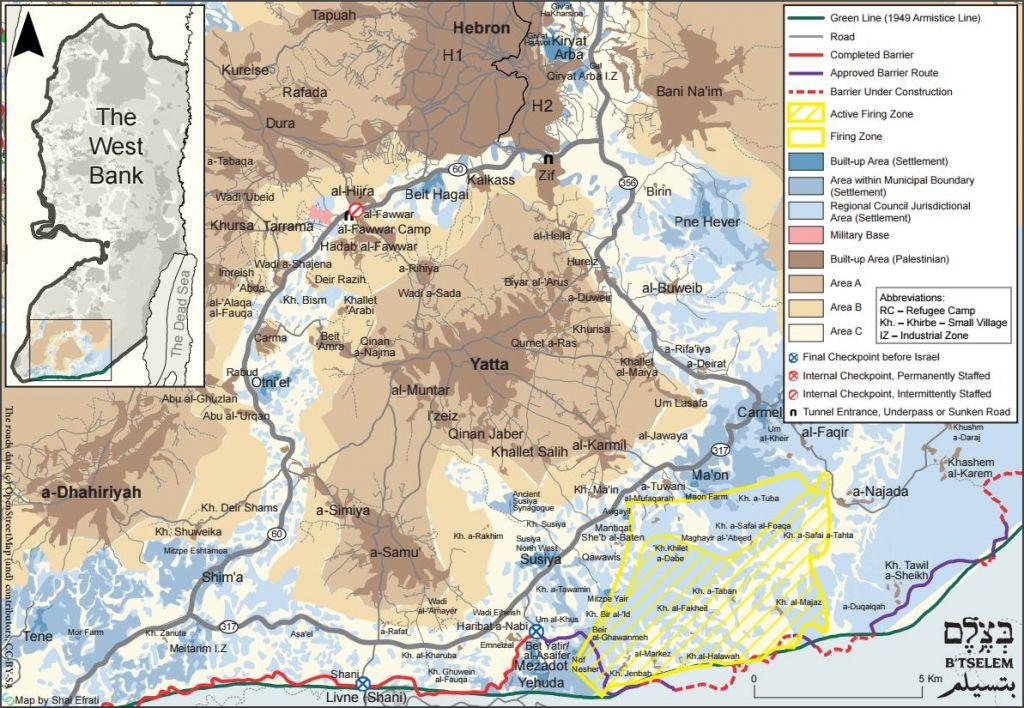 Une carte de la Zone 918, fournie par B'Tselem.