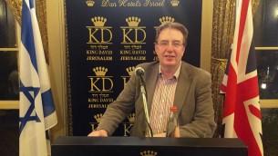 John Howell, député conservateur de Henley et vice-président des Amis conservateurs d'Israël à l'hôtel King David de Jérusalem, le 18 février 2016. (Crédit : James Gurd)