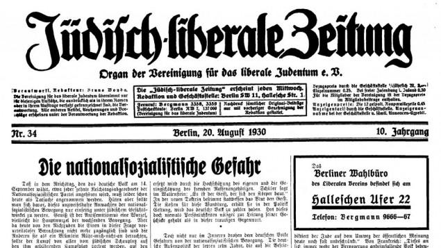 La une du Jüdisch-liberale Zeitung du 20 août 1930. (Crédit : Universitätsbibliothek Frankfurt am Main/Digitale Sammlungen Judaica)