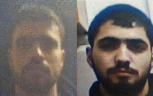 Les deux frères arrêtés à Hébron : Nasser, à droite, et Ahram Badu'i. (Crédit : porte-parole du Shin Bet)