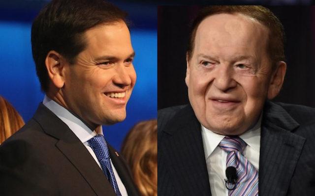 Le sénateur de Floride Marcio Rubio (à gauche) a gagné le soutien du plus grand journal du Nevada, détenu par Sheldon Adelson (à droite). (Crédit : Justin Sullivan et Ethan Miller/Getty Images, via JTA)