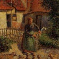 """""""Bergère rentrant des moutons"""", Camille Pissarro, 1886. (Crédit : Domaine public/Wikimedia Commons)"""