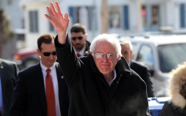 Bernie Sanders, à Concord, New Hampshire, le 9 février 2016. (Crédit : Spencer Platt/Getty Images via JTA)