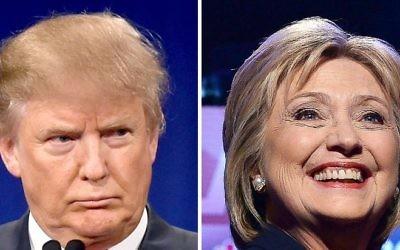 Le candidat républicain à la présidentielle américaine, Donald Trump, le 14 janvier 2016, et sa rivale démocrate Hillary Clinton, le 4 février 2016. (Crédit : AFP/DSK)