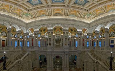 Le Grand Hall de la bibliothèque du Congrès américain (Crédit : Wikimedia commons)