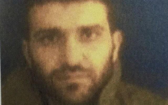 Le terroriste suspect palestinien Najib Mustafa Nazal, arrêté par Israël en janvier 2016. (Crédit : Shin Bet)