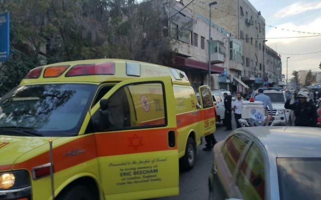 Scène de la fusillade à Jérusalem, le 8 mars 2016 (Crédit : United Hatzalah)