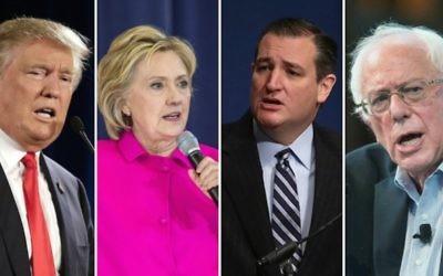 De gauche à droite, les candidats à la présidentielle Donald Trump, Hillary Clinton, Ted Cruz et Bernie Sanders. (Crédit : Getty Images via JTA)