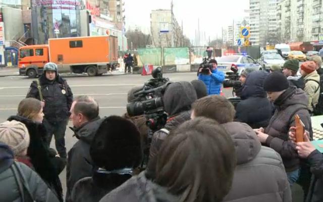 Les alentours de la station de métro Oktyabrskoye à Moscou, le 29 février 2016 (Crédit : Capture d'écran AFP)