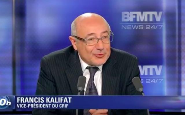 Francis Kalifat en juillet 2014 (Crédit : Capture d'écran YouTube/Crif/BFMTV)