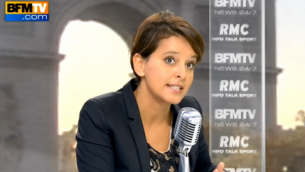 La ministre de l'éducation Najat Vallaud-Belkacem, le 30 septembre 2015 (Crédit : Capture d'écran YouTube/BFMTV)