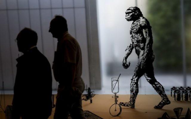 Des visiteurs dans une exposition sur la théorie de l'évolution au musée d'Israël de Jérusalem, le 23 juin 2015. (Crédit : Hadas Parush/Flash90)