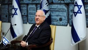 Le président Reuven Rivlin à la résidence du Président à Jérusalem le 10 février 2016 (Crédit : Mendy Hechtman / Flash90)