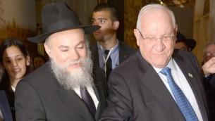 Le président Reuven Rivlin avec les dirigeants des communautés juives de la Russie à Moscou le 17 mars 2016 (Crédit : Mark Neyman / GPO)