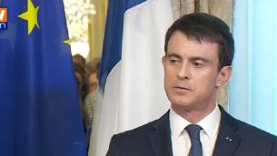 Le Premier ministre français, Manuel Valls, s'exprimant à Bruxelles, en Belgique, le 23 mars 2016 (Crédit : Capture d'écran YouTube)