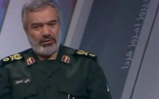 Le contre-amiral Ali Fadavi, commandant des Gardiens de la révolution iraniens. (Crédit : capture d'écran YouTube)