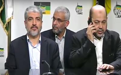 Les responsables du Hamas lors d'une conférence de presse avec les responsables de l'ANC de l'Afrique du Sud, à Pretoria, le 19 octobre 2015. (Crédit : capture d'écran YouTube)