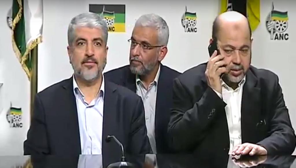 Les responsables du Hamas lors d'une conférence de presse avec les responsables de l'ANC de l'Afrique du Sud, à Pretoria, le lundi 19 octobre 2015 (Crédit : Capture d'écran YouTube)