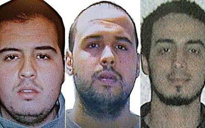 Une photo diffusée par les autorités belges des terroristes présumés qui auraient mené l'attaque à l'aéroport de Bruxelles en Belgique, le 22 mars 2016 : Khalid El Badraoui, Ibrahim El Bakraoui et Najim El Achraoui (Crédit : Police Fédérale belge)