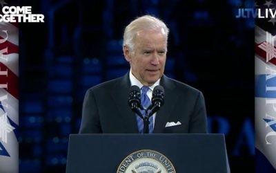 Le vice-président américain Joe Biden pendant la conférence annuelle 2016 de l'AIPAC à Washington, le 20 mars 2016. (Crédit : capture d'écran YouTube)