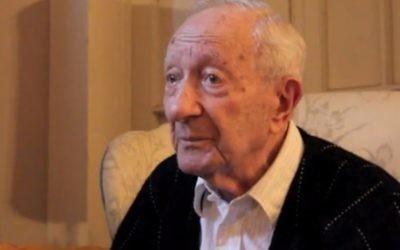 Le survivant de la Shoah Joseph Sher en 2011. (Crédit : capture d'écran Vimeo)
