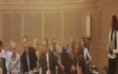 Les députés de l'Union sioniste Erel Margalit (3ème à gauche) et Tzipi Livni (5ème à gauche) se disputent pendant une réunion à la Knesset, le 7 mars 2016. (Crédit : capture d'écran Deuxième chaîne)