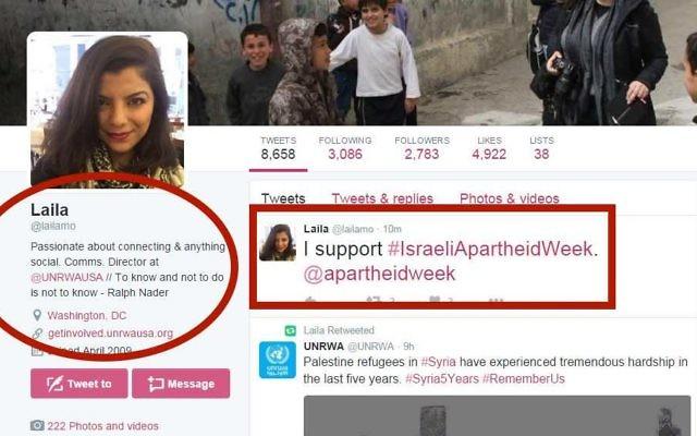 Un tweet datant du 1er mars 2016 de Laila Mokhiber pour soutenir la Semaine contre l'apartheid israélien. La porte-parole des États-Unis pour l'UNRWA a clôturé son compte peu de temps après (Crédit : Autorisation de UN Watch)