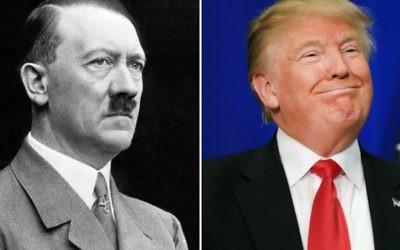 Donald Trump a été plusieurs fois comparé à Adolf Hitler pendant la campagne électorale. (Crédit : Wikimedia Commons, Tom Pennington/Getty Images via JTA)