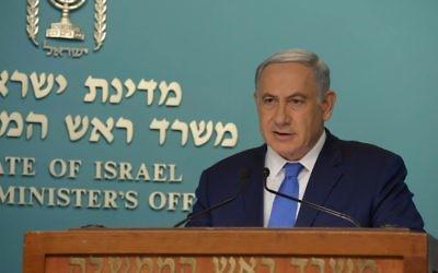 Benjamin Netanyahu pendant une conférence de presse à Jérusalem, le 23 mars 2016 (Crédit : Raphaël Ahren/Times of Israel)