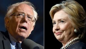 Combinaison de photos de fichiers montre les candidats démocrates à la présidentielle américaine Bernie Sanders (g) le 31 mars 2016 et Hillary Clinton le 30 mars 2016 (Crédit : AFP / PHOTO DESK)