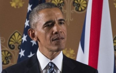 Le président des Etats-Unis Barack Obama pendant une conférence de presse au Bureau des Affaires étrangères et du Commonwealth, dans le centre de Londres, après une rencontre Downing Street, le 22 avril 2016. (Crédit : AFP PHOTO / Jim Watson)