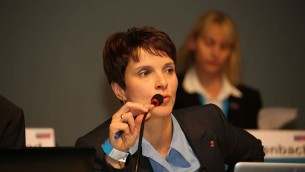 Frauke Petry, responsable du parti Alternative für Deutschland, à Aschaffenburg, le 25 janvier 2014. (Crédit : blu-news.org/CC BY-SA 2.0/WikiCommons)