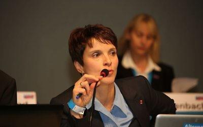 Frauke Petry, responsable du parti Alternative für Deutschland, à Aschaffenburg, le 25 janvier 2014. (Crédit : blu-news.org/CC BY-SA 2.0/WikiCommons)