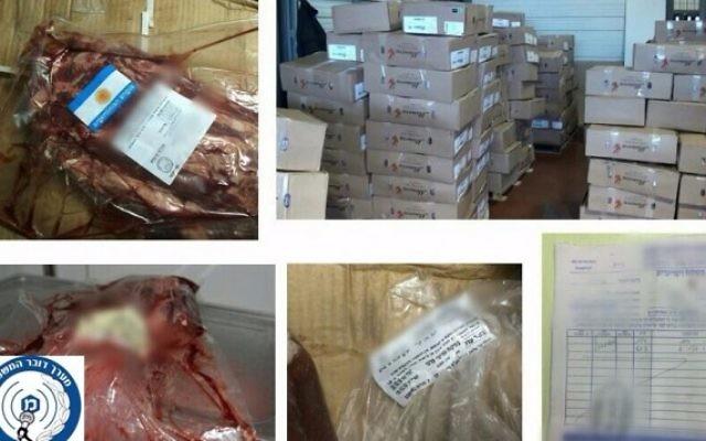 La viande saisie par la police à un réseau israélo-palestinien de contrebande de viande en avril 2016. (Crédit : police israélienne)