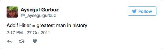 Capture d'écran d'un tweet de l'élue municipale suspendue par le Parti travailliste britannique, Aysegul Gurbuz (Crédit : site internet de la campagne contre l'antisémitisme)