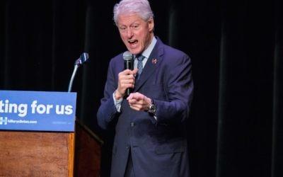 L'ancien président Bill Clinton au théâtre Ashe Power pour la campagne de son épouse, la candidate démocrate à la présidentielle Hillary Clinton, à La Nouvelle Orléans, en Louisiane, le 4 mars 2016. (Crédit : Josh Brasted/Getty Images via JTA)