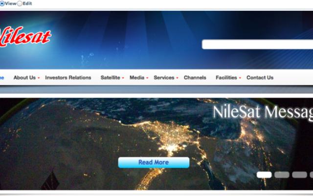 Capture d'écran de la page d'accueil du site web de Nilesat