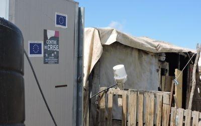 Un bâtiment financé par l'UE situé en Cisjordanie (Crédit : Ben Sales/JTA)