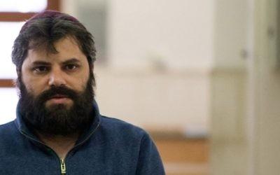 Yosef Haim Ben David, le troisième accusé du meurtre de Mohammad Abu Khdeir, à la cour du district de Jérusalem, le 5 avril 2016. (Crédit : Yonatan Sindel/Flash90)
