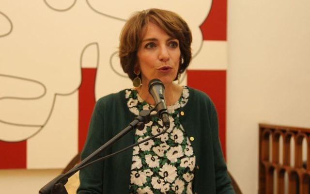 Marisol Touraine, ministre des Affaires sociales et de la Santé, Maison de France, Jaffa, le 31 mars 2016 (Crédit : Ambassade de France en Israël / Marine Crouzet)