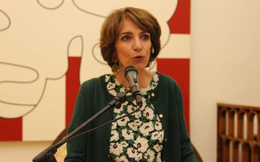La ministre française de la Santé et des Affaires sociales, Marisol Touraine à la Maison de France, à Jaffa, le 31 mars 2016. (Crédit : Ambassade de France en Israël / Marine Crouzet)