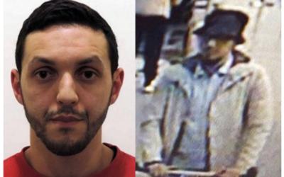 """Mohamed Abrini, suspect dans les attentats de Paris, à gauche sur une photo prise par la police belge, a avoué être le """"troisième homme"""" de l'aéroport de Bruxelles, filmé  avec les deux hommes qui se sont fait exploser, le 22 mars 2016.  (Crédit : police fédérale belge/STR/AFP et Twitter)"""