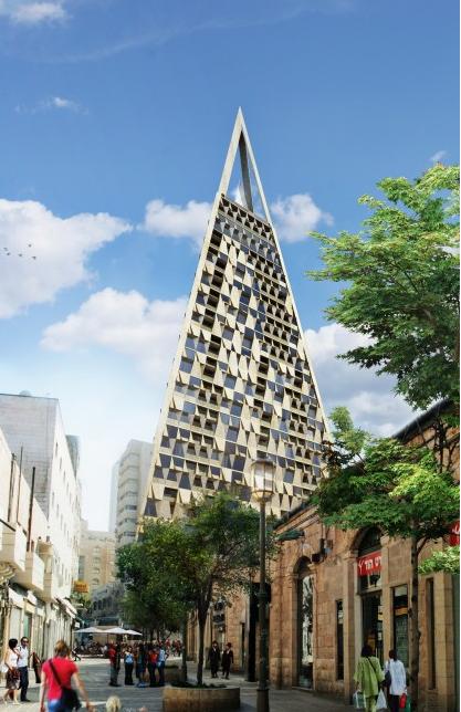 """""""La Pyramide"""" de Daniel Libeskind a franchi une étape de plus dans sa validation par le comité municipal de Jérusalem, le 14 avril 2016. (Crédit photo : Courtesy Daniel Libeskind website)"""