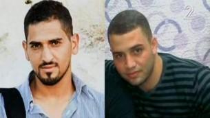 Photos non datées de Baha Allyan (à gauche) et de Bilal Riman, qui ont mené une attaque terroriste à main armée et au couteau dans un bus de Jérusalem le 13 octobre 2015. (Crédit : capture d'écran Deuxième chaîne)