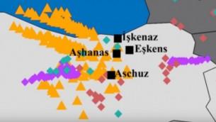 Une carte montrant les origines apparentes des locuteurs de yiddish sur la base de l'analyse de leur ADN, selon une étude du Dr Eran Elhaik (Crédit : capture d'écran YouTube)