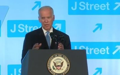Le vice-président américain Joe Biden pendant le gala de J Street, le 19 avril 2016. (Crédit : capture d'écran YouTube)