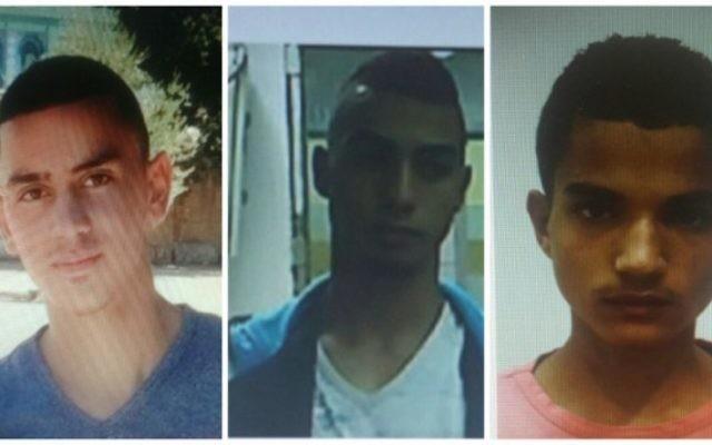Trois des quatre Palestiniens inculpés pour une attaque aux jets de pierre qui a tué Alexander Levlovitz, 64 ans, à Jérusalem, le 13 septembre 2015. De gauche à droite : Abed Muhammad Abed Rabo Dawiat, 19 ans, Muhammad Salah Muhammad Abu Kaf, 18 ans et Walid Fares Mustafa Atrash, 18 ans. (Crédit : Shin Bet)