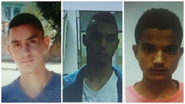 Trois des quatre Palestiniens inculpés pour une attaque aux jets de pierre qui a tué Alexander Levlovitz, 64 ans, à Jérusalem, le 13 septembre 2015. De gauche à droite : Abed Muhammad Abed Rabo Dawiat, 17 ans, Muhammad Salah Muhammad Abu Kaf, 18 ans et Walid Fares Mustafa Atrash, 18 ans. (Crédit : Shin Bet)