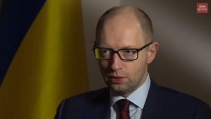 Arseniy Yatsenyuk, ancien Premier ministre ukrainien. (Crédit : capture d'écran YouTube/BBC News)