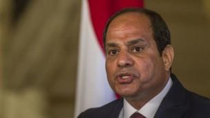 Le président égyptien Abdel-Fattah el-Sissi au Caire, le 17 avril 2016 (Crédit : AFP/Khaled Desouki)